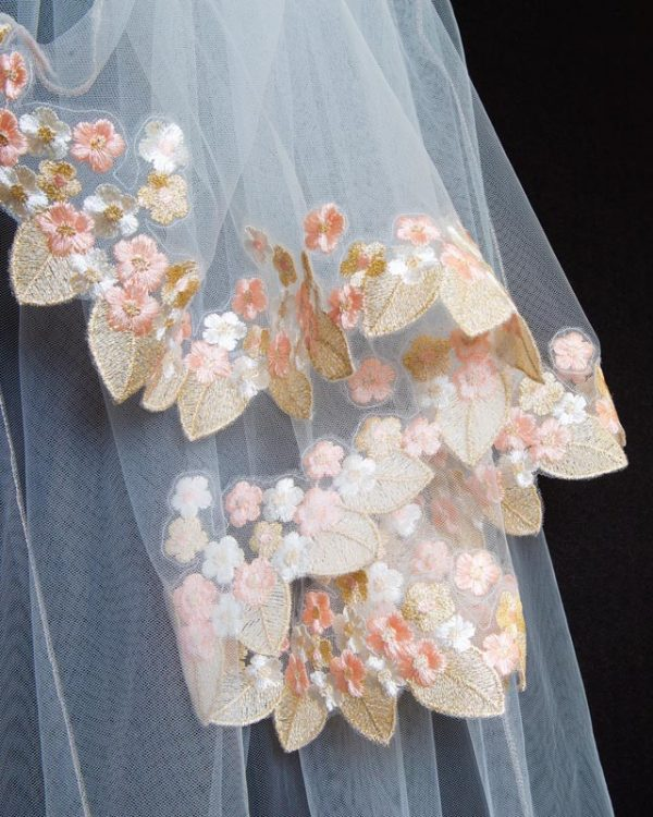 Romantic bespoke veil with flower edging | Head Turners online shop