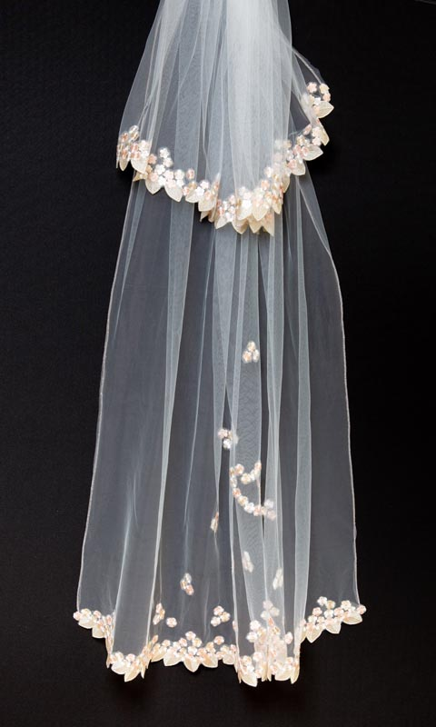Two tiered bespoke veil with flower edging | Head Turners shop