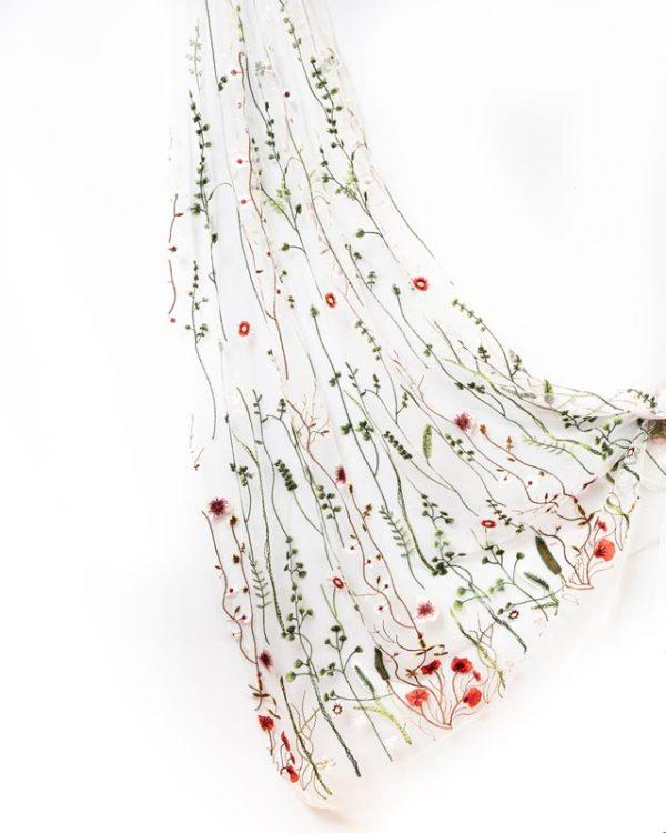 Detail on Boho beautiful wedding secret garden veil | Head Turners shop